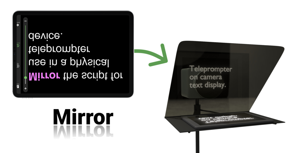 mirror text in app for use in beam splitter teleprompter